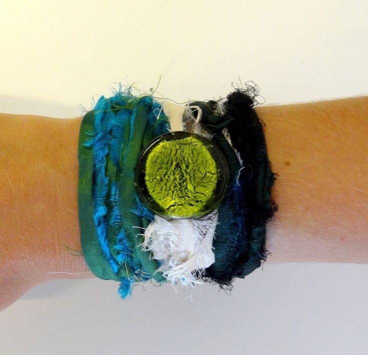 Zijde Wrap Armband Groen -