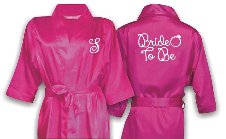 Personalized Bridal Satin Robe with title on the back and monogram on front. Wedding Accessories Perth