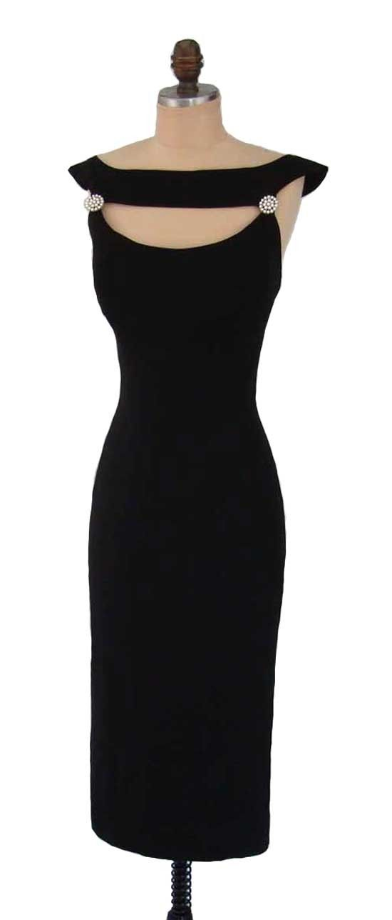 Vintage 1950's 50's Black Rayon Crepe Cocktail Party Dress with Hem Pleating M