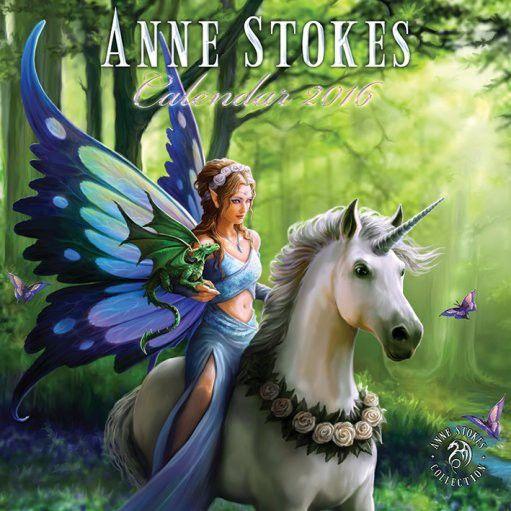 Anne Stokes - Calendrier 2016 - Fée Elfe Dragon Fantasy Gothic -Boutique