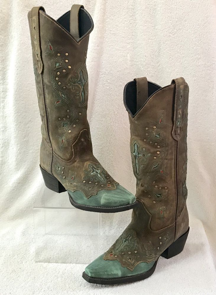88f0b41078c Laredo Women's Brown and Turquoise Cross Point Western Boots 52032 ...