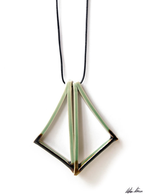 Handmade Ceramic Triangle Pair Necklace by TaupeKlein on Etsy, $20.00