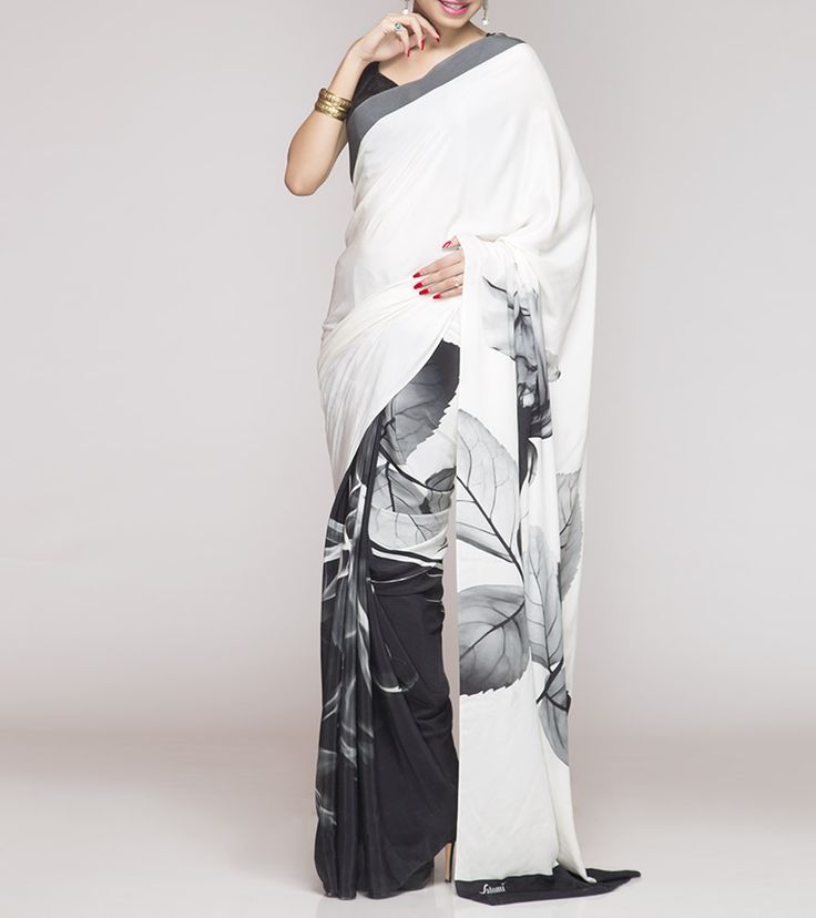 White Digitally Printed Silk Crepe Saree