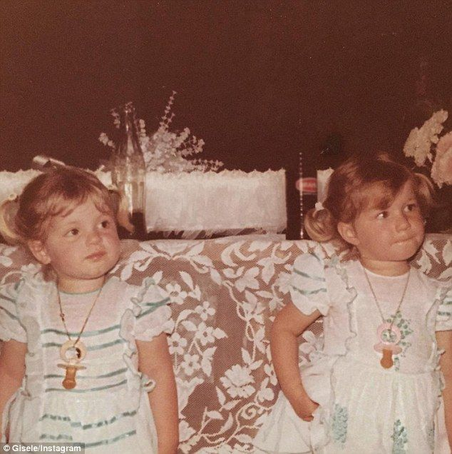 Throwback: Gisele Bundchen (pictured on the right) shared a throwback photo of herself with her fraternal twin Patricia to her Instagram Thursday