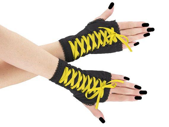 Black yellow fingerless mittens wrist warmers by FashionForWomen