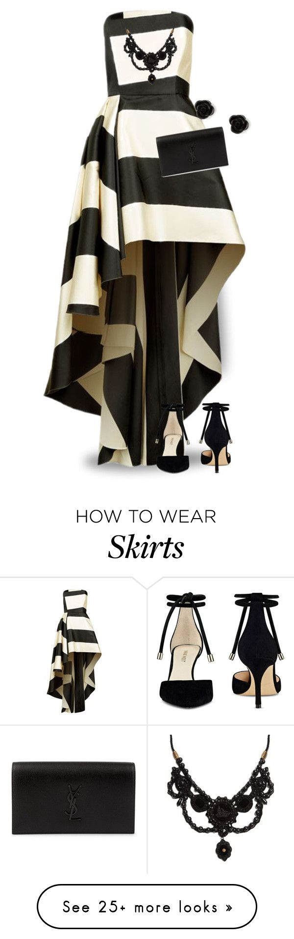 """""""Black & White Striped Dress"""" by majezy on Polyvore featuring La Mania, Yves Saint Laurent, Nine West, Gucci and claire's"""