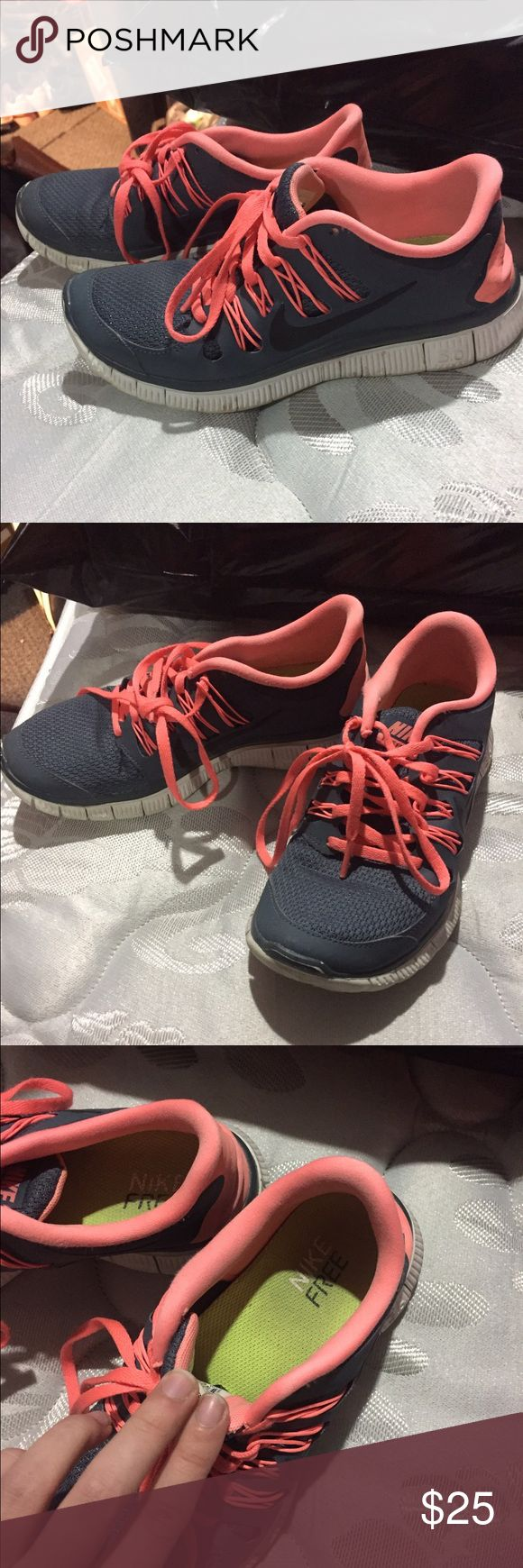 Gray and pink Nike shoes Barely worn! Just like the other pair! Please no lowballing! Nike Shoes Sneakers