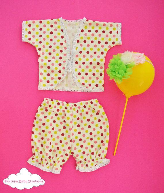 Baby Girl Set Polka Dot Pants Baby Jacket by DoloresBabyBoutique