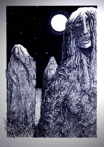 Stone Faeries-During the hours of daylight,they appear as cold stone monoliths,yet once bathed in silvery lunar light a profound transformation occurs.Boulders metamorphose into the bodies of young women w/pale,iridescent complexion & longflowing hair.The Stone Faeries(Saresyns/Pyrenees)call them what you will-then dance in freedom,or spin the threads of life & fabric of time upon huge stone wheels.Come the dawn,the maidens return to stone once more.1-7