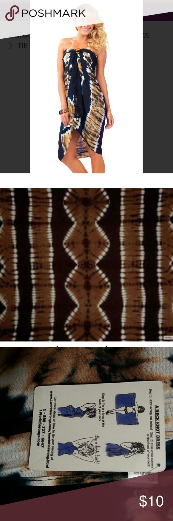 "1 World Sarong Tie Die ""JUNGLE BROWN"" Welcome to the jungle. Sarong measure approximately 66 x 44 inches (168 cm x 112 cm) on fringed lightweight rayon. Please note color, size, and design will vary due to the handmade nature of this item. New never worn, with tags, original packaging. ONE WORLD Accessories Scarves & Wraps"