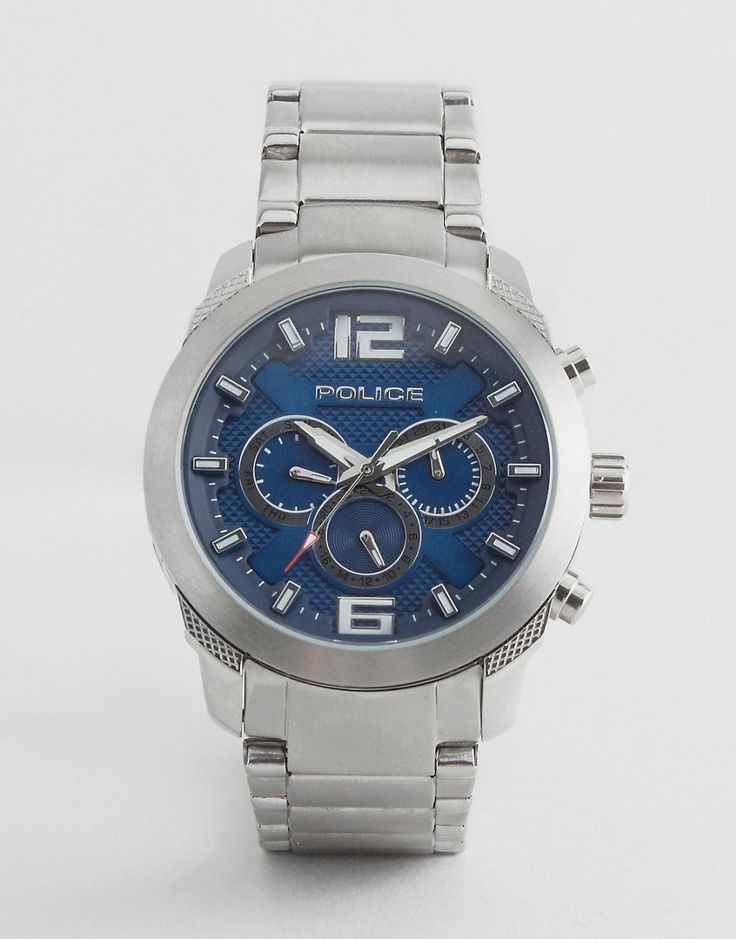 Get this POLICE's watch now! Click for more details. Worldwide shipping. Police Quartz Watch with Blue Dial Chronograph Display - Silver: Watch by Police, Stainless steel bracelet strap, Stainless steel case, Three hand movement, Sub-dial chronograph design, Mixed indices, Single crown to side, Twin pushers, Folding clasp fastening, 5ATM: water resistant to 50 metres (160 feet), Presented in a branded box. (reloj, watches, mini clock, chronograph, chronometer, pulsometer, clock, watch…