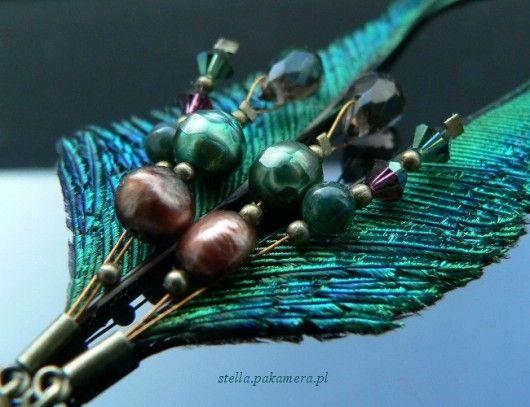 kolczyki - pióra-pawie miecze