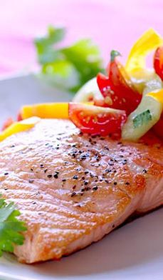 Seared Salmon with Cilantro-Cucumber Salsa - Be good to yourself with this delicious, yet heart-healthy recipe for seared salmon.