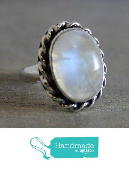 Oval Cabochon OOAK Moonstone Sterling Silver Ring, size 8 from Sophia Rose Jewellery https://www.amazon.com/dp/B01M1NOEK5/ref=hnd_sw_r_pi_dp_QGJ.xbHKJ5QE2 #handmadeatamazon