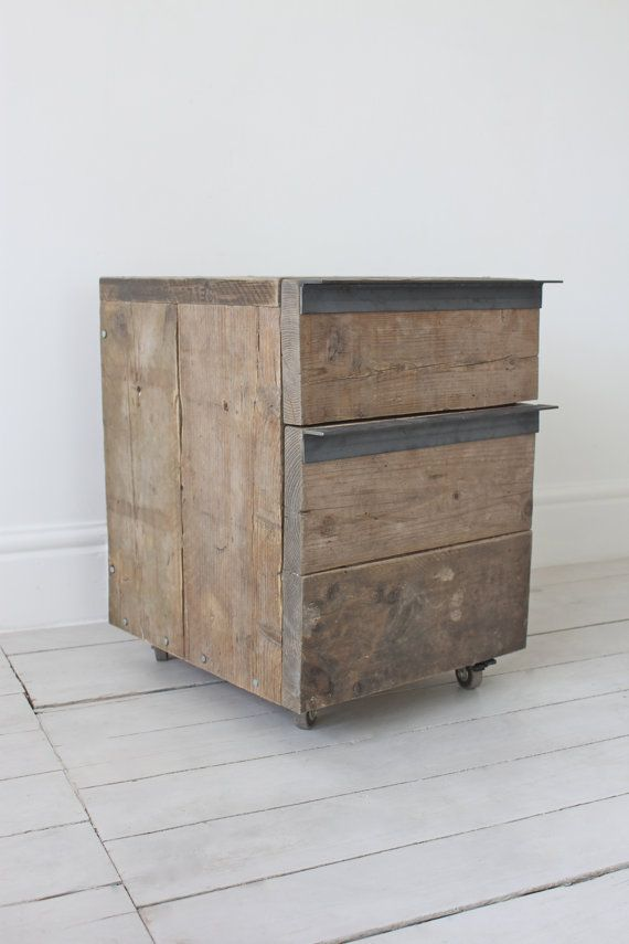 Reclaimed Scaffolding Board Drawer Unit on Castors by inspiritdeco