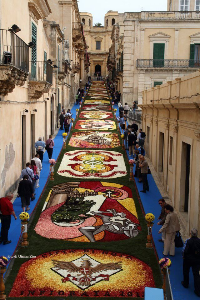 The Infiorata di Noto -  a unique annual flower and art festival in the city Noto on the island of Sicily, Italy.