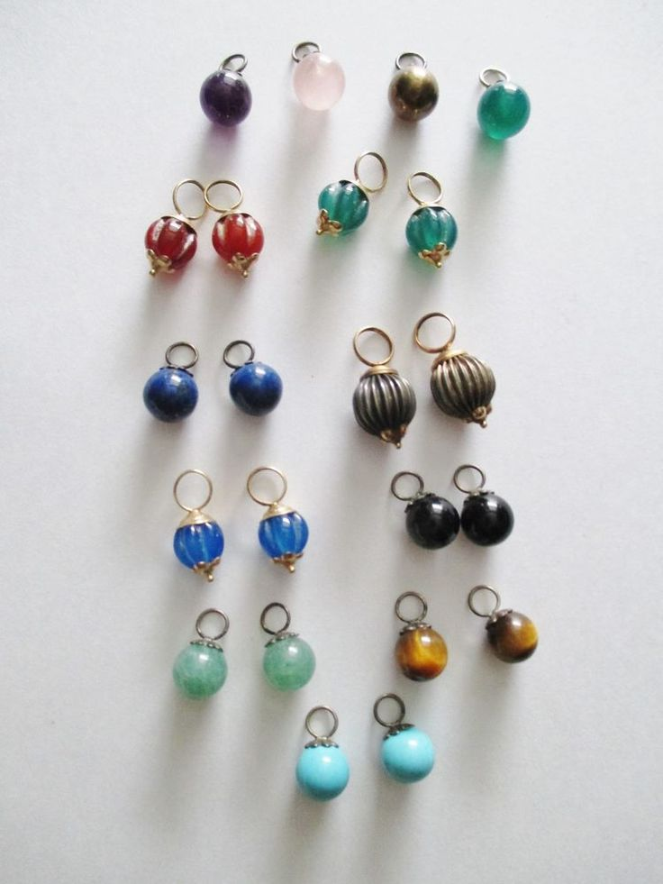 Vintage Lot of Gemstone Beads w/Loops for Charms Pendants Earring Dangles 22 Pc. #UnbrandedGemstonePendantCharms