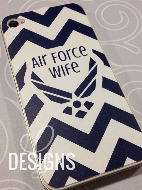 Air Force Wife/Mom/Girlfriend/Sister/Fiance Chevron Print iPhone 4/4S/5, Samsung S3 Vinyl Decal on Etsy, $8.00