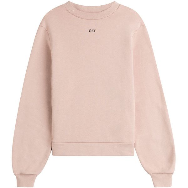 Off White Cotton Sweatshirt found on Polyvore featuring tops, hoodies, sweatshirts, sweaters, shirts, jumper, beige, beige shirt, off white shirt and relax shirt