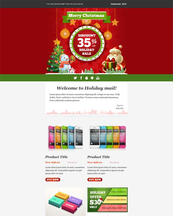 This Holiday And Christmas Email Template Features A Responsive