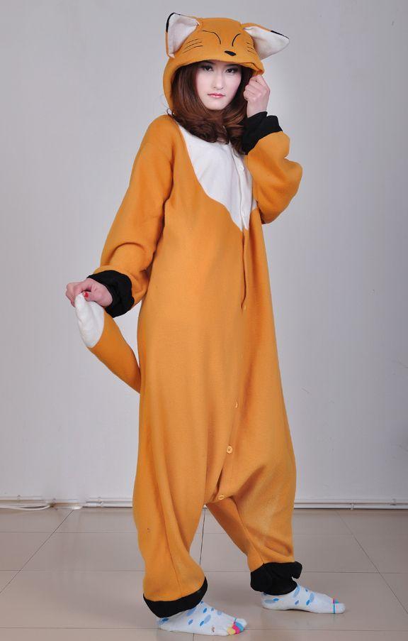 Japan Kigurumi Adult Onesies Fox Animal Pajamas Costumes Polar Fleece Material Cosplay Pyjamas S M L XL Women Romper Jumpsuit on Aliexpress....