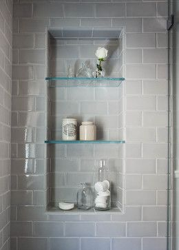 Beautiful serene bathroom! Are the glass shelves in the shower niche