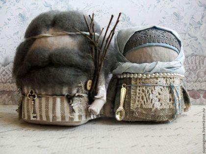 """Народные куклы ручной работы. Ярмарка Мастеров - ручная работа. Купить """"Крупеничка и Богач"""". Handmade. Серый, народная кукла"""