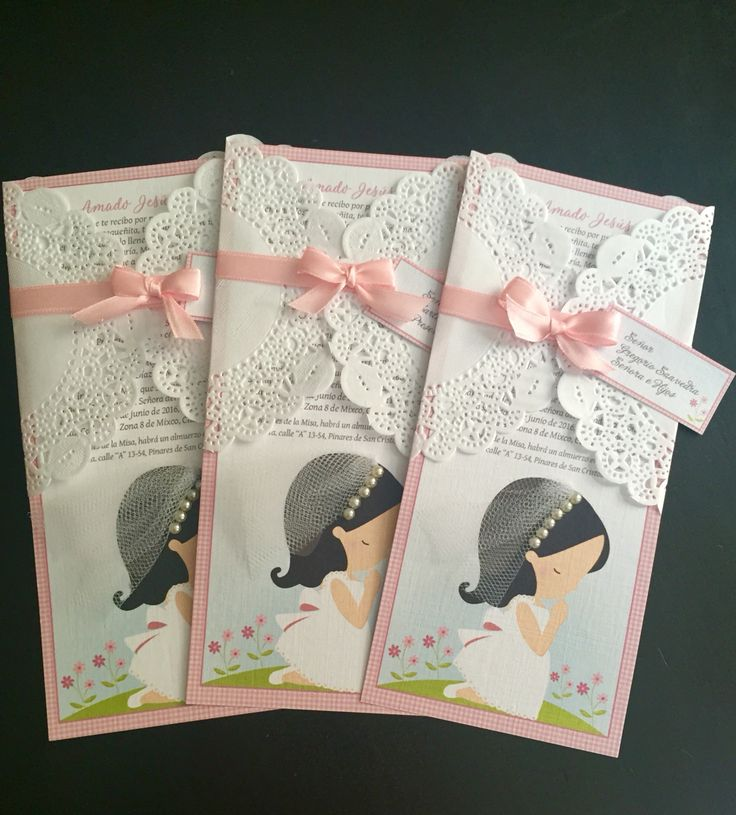 Invitación Primera Comunión Niña /Girl First Communion Invitation  https://m.facebook.com/ailoviupaperstudio/