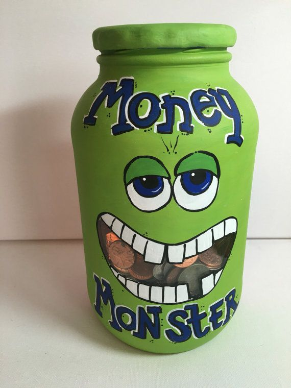 This Money Monster Bank is the cutest way I know to make saving money fun! A fun twist on the ol Piggy Bank. Monsters mouth window makes it easy to keep an eye on your saving progress.  *Glass jar bank with slotted lid. *Painted with specialized glass paint so the design will last forever. Measures: 7 tall  3 wide mouth of jar  3 wide (diameter) bottom  Plenty of room for the savings to pile up!  Makes a great birthday gift! Add a name to make it personal for FREE!  The design possibilities…