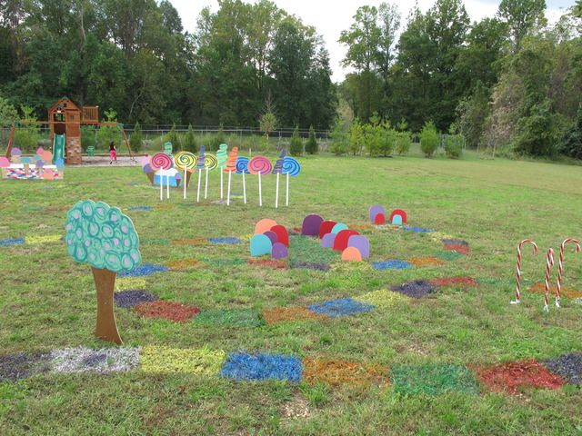 My kids are too old, but this is an awesome idea for a younger child's birthday - life-sized CandyLand in your backyard!