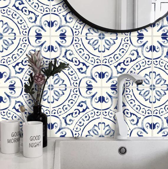 Tile Sticker Kitchen Bath Floor Wall Waterproof Removable Etsy In 2021 Tile Stickers Kitchen Wall Waterproofing Tile Decals