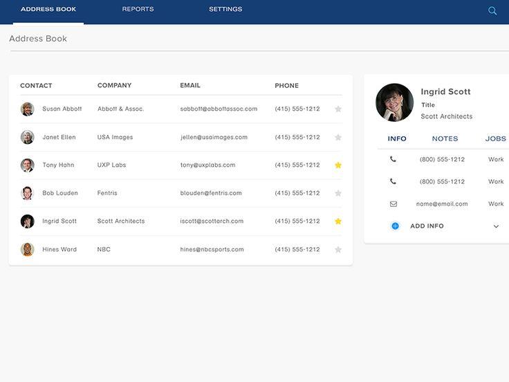 BlinkBid Address Book Screen Screens, Interaction Design And   Address Book  Example