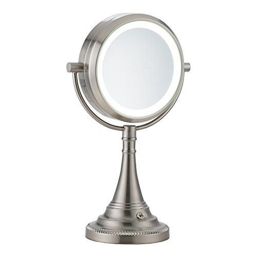 Co Z Lighted Makeup Mirror Elegant Magnifying Makeup Vanity Mirror With 10x Magnification Modern Dual Sided Brushed Nickel Light Up Mirror With Lights For Womens Dresser Makeup Mirror With Lights Magnifying Mirror