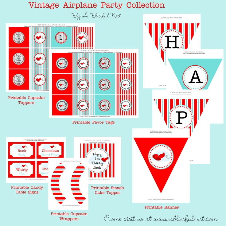 Printable Vintage Airplane Party Collection Diy By: Airplane Birthday Party Theme