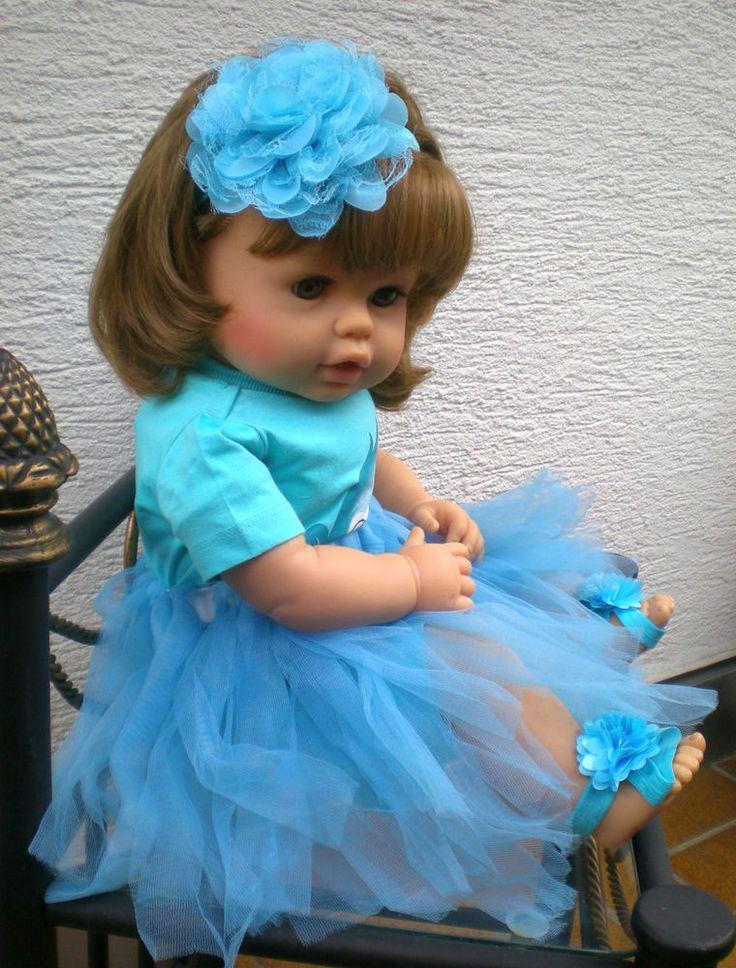 große Zapf Puppe 62 cm braunhaarig + viel Babykleidung+ Zubehör Spielpuppe, Doll