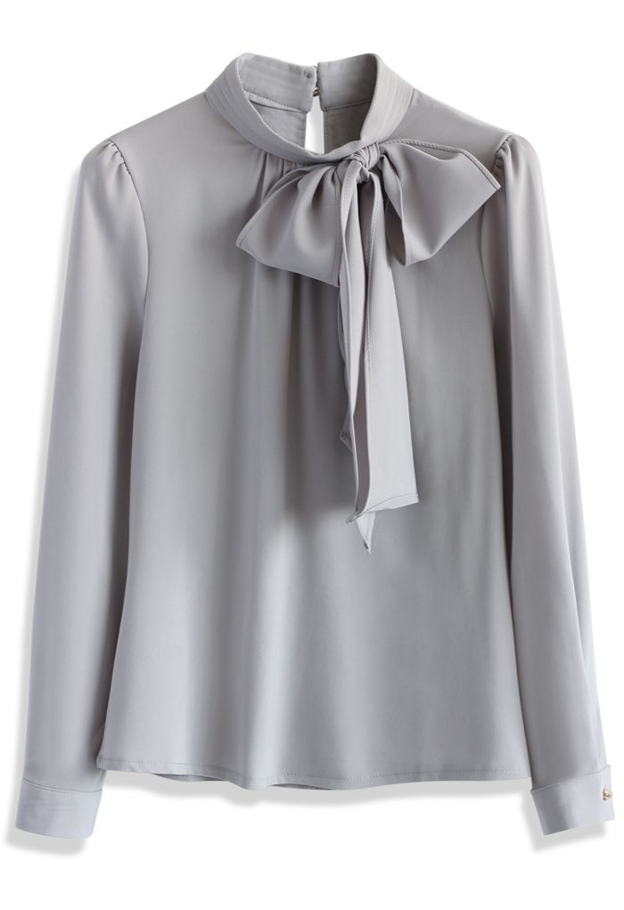 Kiss Me Bow Top in Grey - New Arrivals - Retro, Indie and Unique Fashion