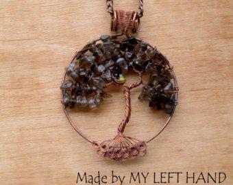 Árbol de la vida colgante cobre alambre las raíces de árbol de la vida de los cuarzo ahumado de collar del árbol de la vida árbol genealógico genealogía de joyería céltica