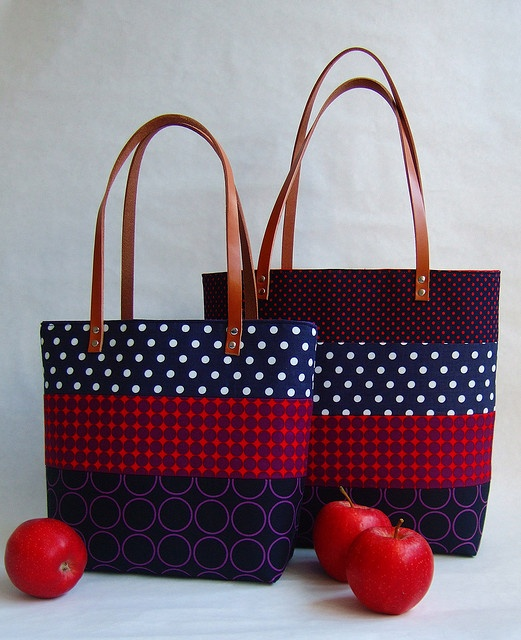 Patchwork totes in red and blue