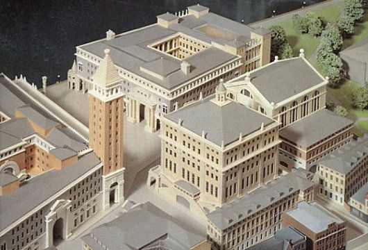 John Simpson and Partners's neo-Venetian plans for the second phase of the redevelopment of  London Bridge City in 1989: a miniature Venice-on-the-Thames complete with Piazza San Marco and ersatz campanile