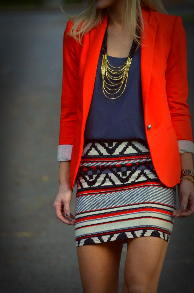 great outfit. red blazer jacket blue tribal print skirt