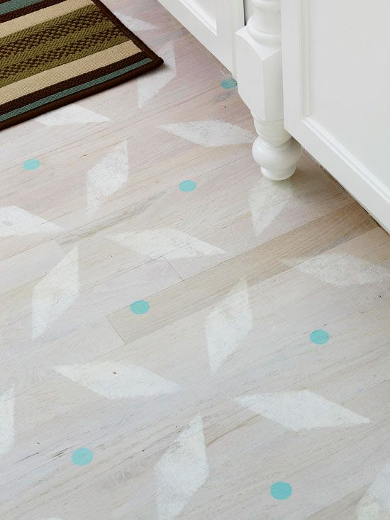 Style Underfoot Save the expense of buying new floors by updating the ones you already have with paint. Add a couple coats of polyurethane when paint is dry to help preserve the finish. Remember that scratches can add to the character, particularly if you're aiming for a country look. Get this free stencil pattern. (free stencil pattern at link)