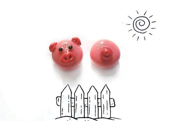 Schwein-Ohrringe mit tail in kalte Porzellan, rosa Ohrringe, hypoallergen, Geschenk Geschenk Geschenk Weihnachtsgeschenk, Mädchen, Frau