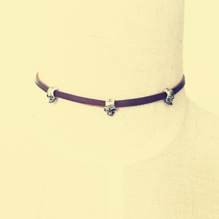 New fashion jewelry leather with skull choker necklace gift for women girl N1890