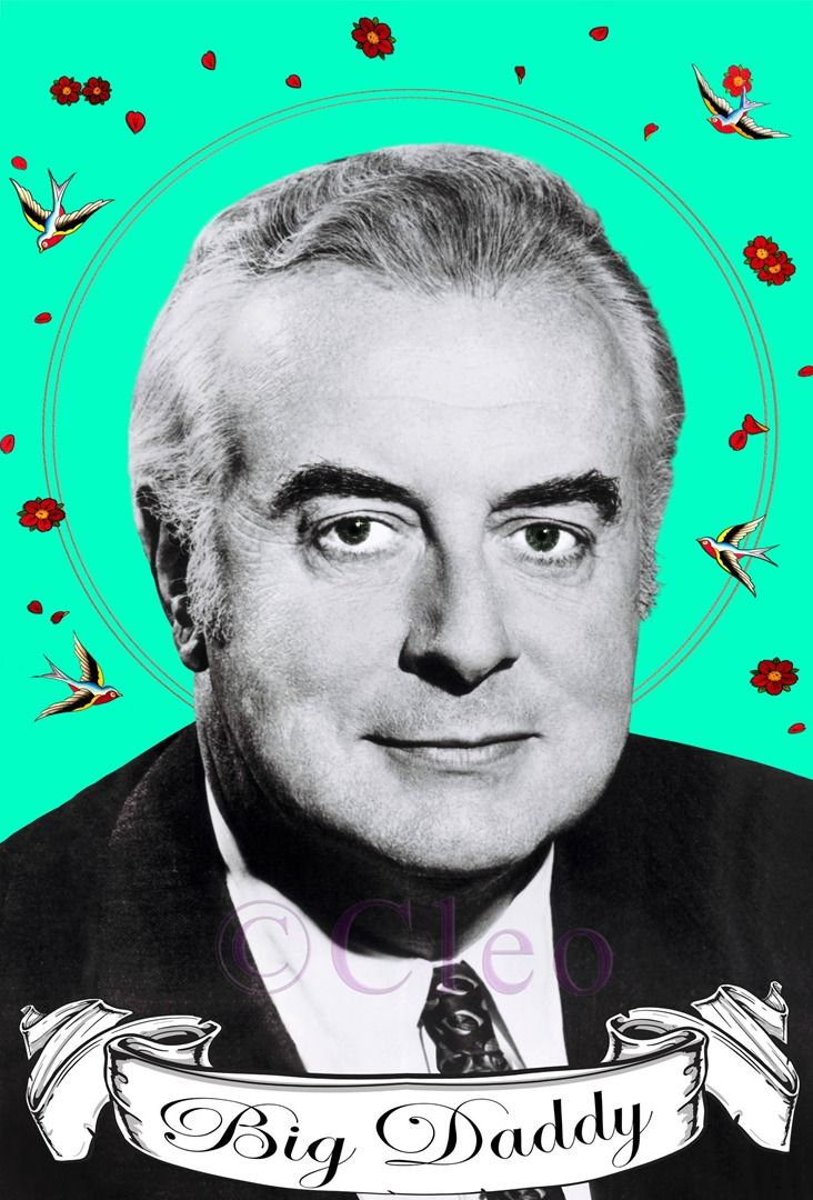 Gough Whitlam, 110x 90 cms Giclee Print, water colour and embroidery. By Cleo Gardiner Original image, used with Permission from National Library of Australia