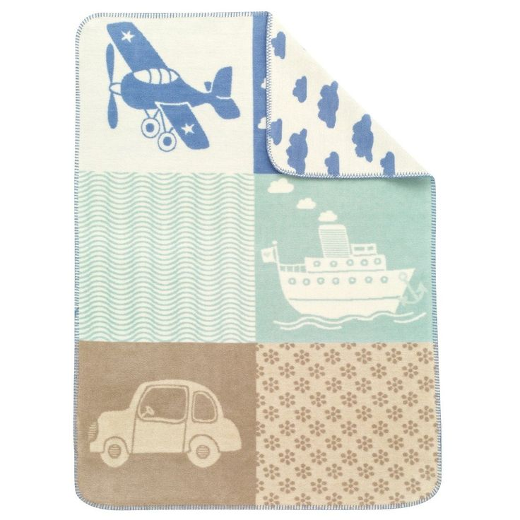 29 X 39 Kids Blue Brown Patchwork Throw Blanket Airplane