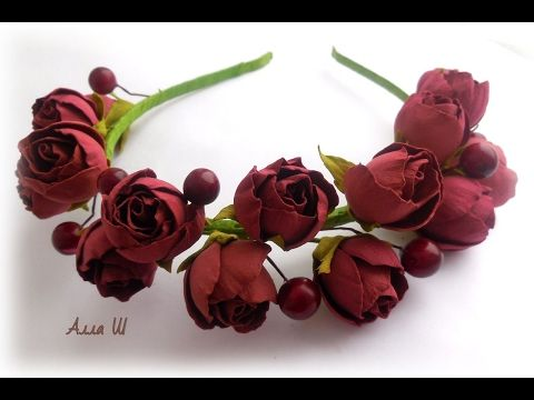 Гребень с нежной розой из фоамирана мастер класс / Foam Rose flowers Hand Made - YouTube