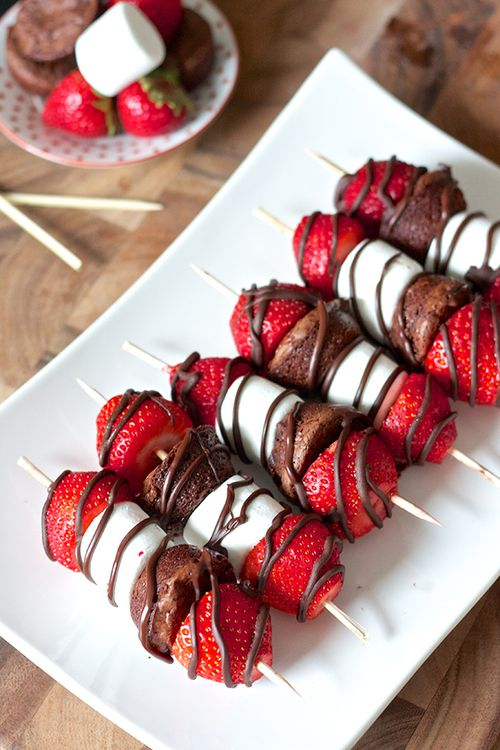 fondue shish kebabs - strawberry, marshmallow, brownie bite + strawberry drizzled with milk chocolate
