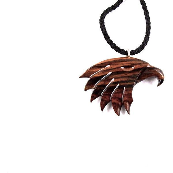 Eagle Necklace Eagle hanger, Eagle hoofd ketting, hout Eagle ketting,... (€26) ❤ liked on Polyvore featuring men's fashion, men's jewelry and mens watches jewelry