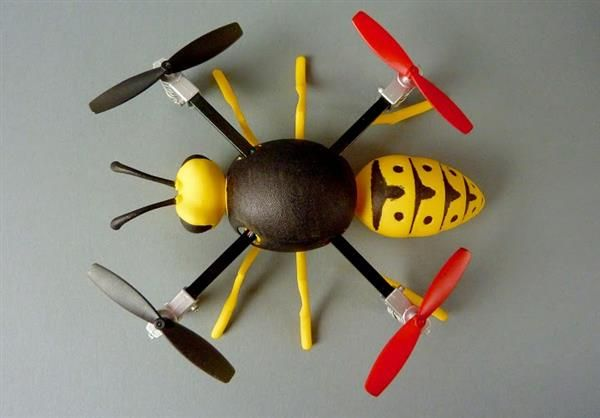 3ders.org - German artists uses 3D printing to turn Micro Drones into fun buzzing and friendly wasps | 3D Printer News & 3D Printing News