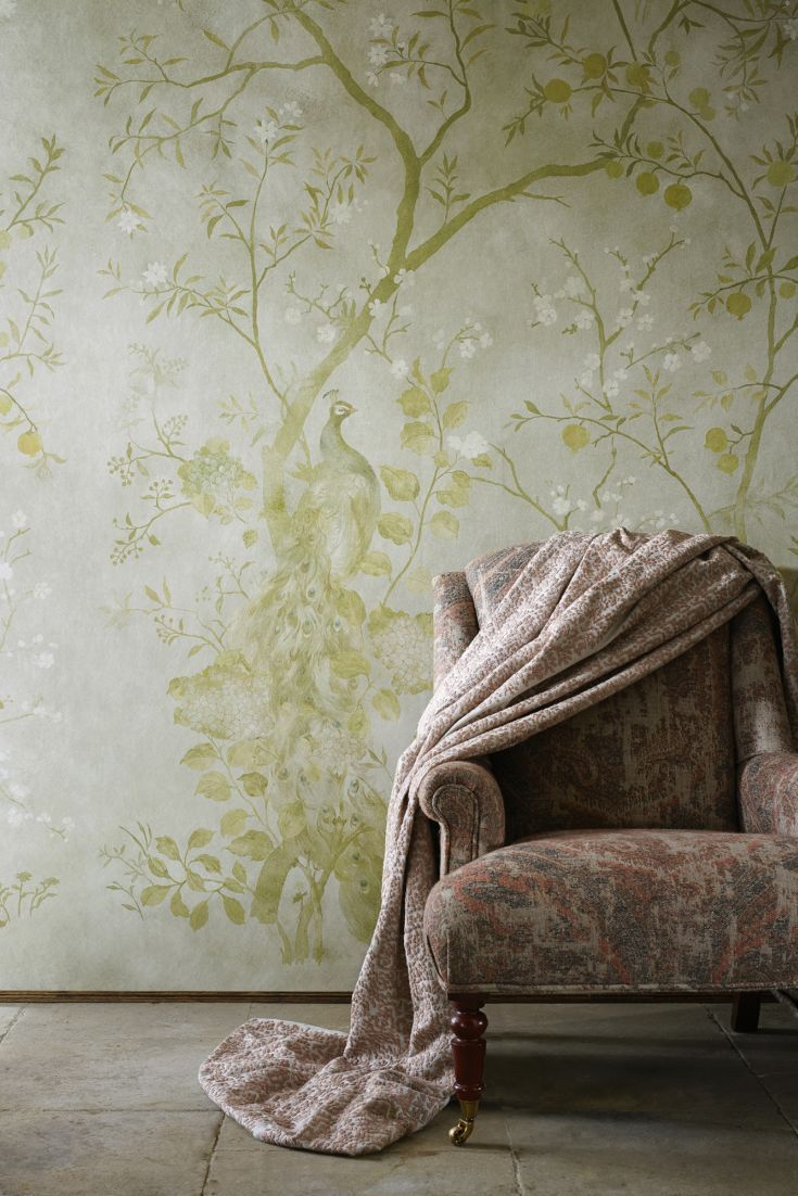 A delightful Chinese style panel peacock wallpaper design, with exotic birds perched on two entwining fruit and blossom trees.